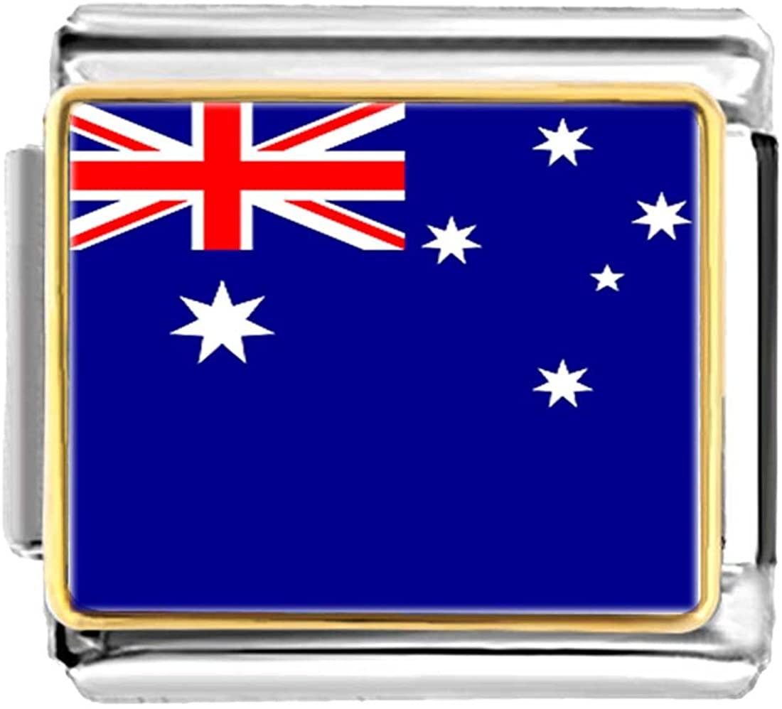 GiftJewelryShop Gold Plated Australia Flag Bracelet Link Photo Italian Charm