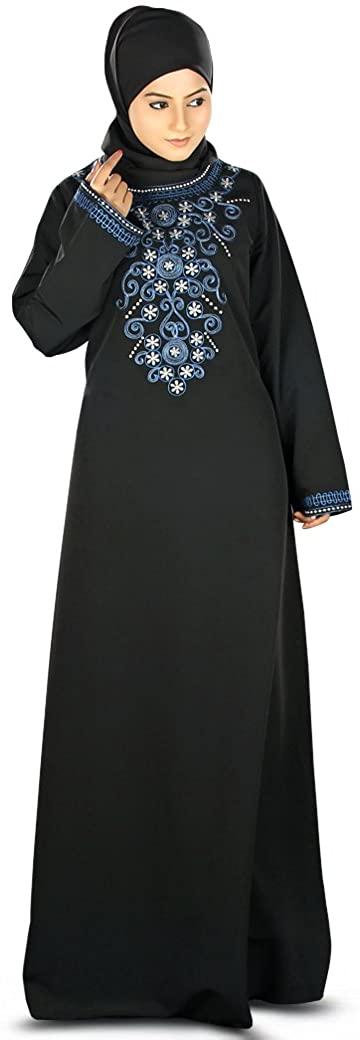 MyBatua Womens Muslim Clothing Elegant Embroidered Tabassum Abaya in Black