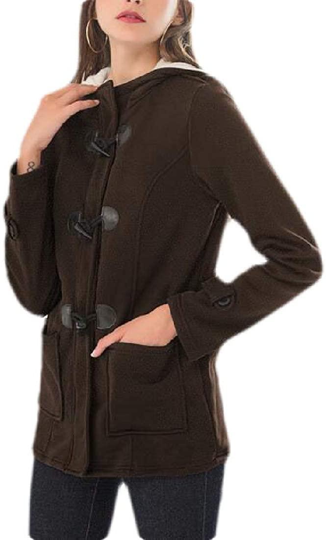 MOUTEN Womens Coats Jackets Horns Buckle Thick Loose Hoodie Parka Coat Jacket Outwear