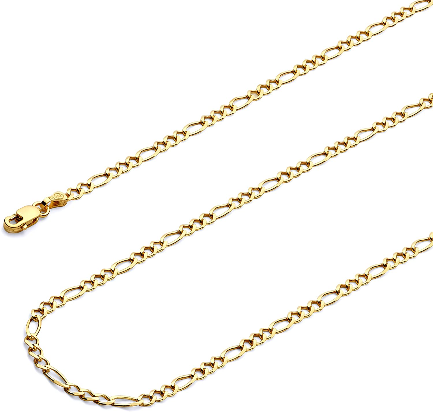 Wellingsale 14k Yellow Gold Polished Solid 2.5mm Figaro 3+1 Concave Chain Necklace