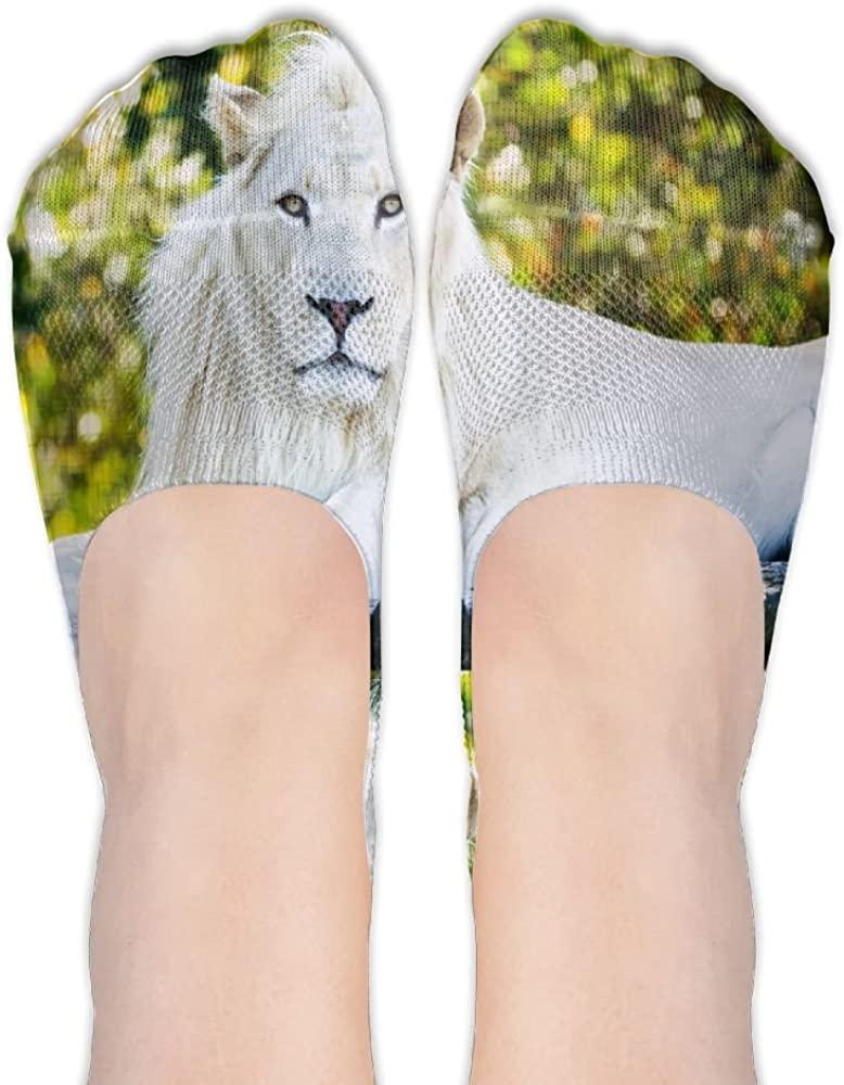 Womens White Lion Casual Liner Athletic Running Socks Non Slip Flat Boat Line Girl Thin Anti-Slip 3D Printed Socks