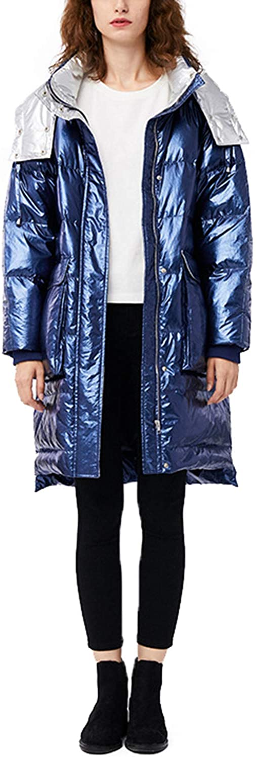 NCDIMS Womens Down Jacket Hooded Plus Size Glossy Fshionable Winter Puff Coat for Girl