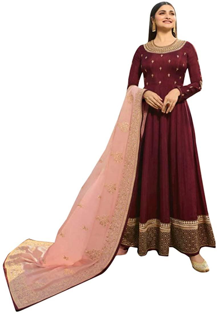 Diwali Ethnic Indian Party wear Silk Anarkali Salwar Suit with Banarasi Dupatta Women dress Custom to Measure 8663