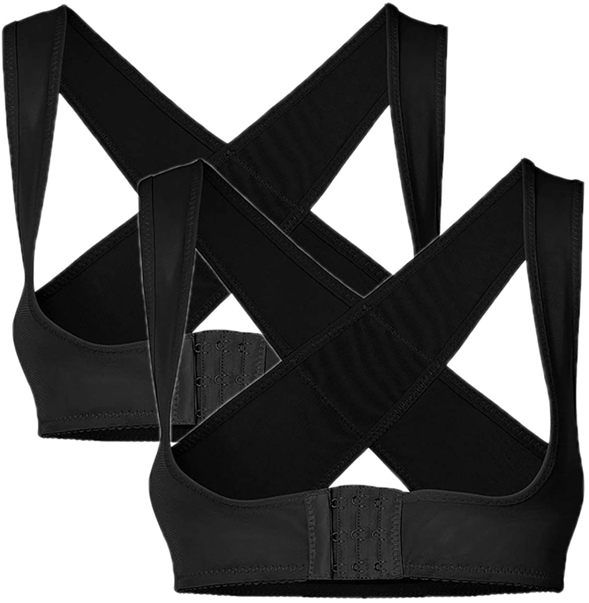 PRETTYWELL Women's Cross Back Posture Corrector Push up Bra Chest Support 2 Pack NY090 (2Black, L)