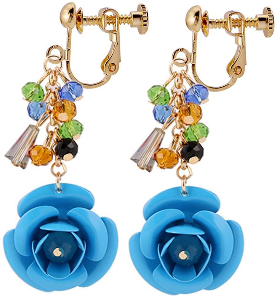 Clip On Earrings Floral Flower Earrings Light Blue Style Dangle Delicate Gold Plated Lover Gift