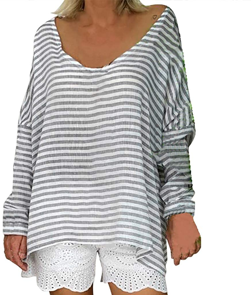 LEKODE Women T-Shirt Fashion Striped Long Sleeve O-Neck Tops