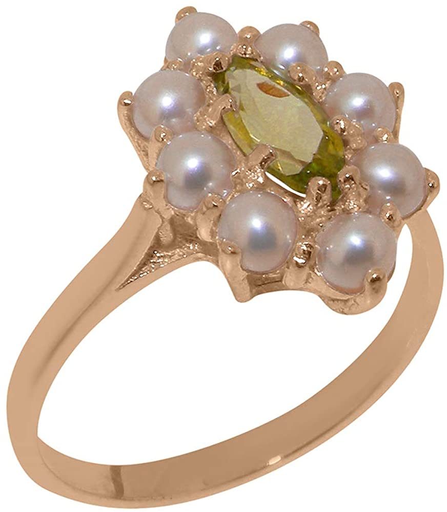Solid 10k Rose Gold Natural Peridot & Cultured Pearl Womens Cluster Ring - Sizes 4 to 12 Available