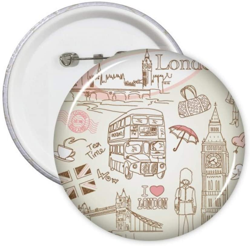 I Love London Britain Big Ben Bus Pins Badge Button Emblem Accessory Decoration 5pcs