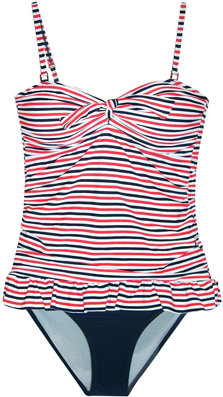 Marina West Women's Retro Ruffle Tankini Bikini Swimsuit Set