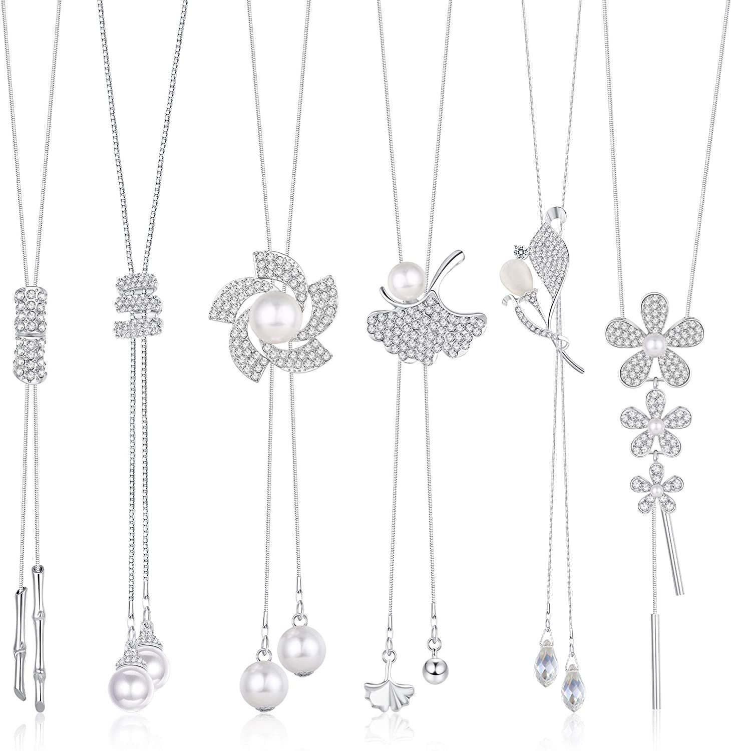 LOYALLOOK 6PCS Crystal Flowers Long Pendant Necklace Set Leaf Tassel Pearl Y Strands Sweater Long Chian Necklace for Women