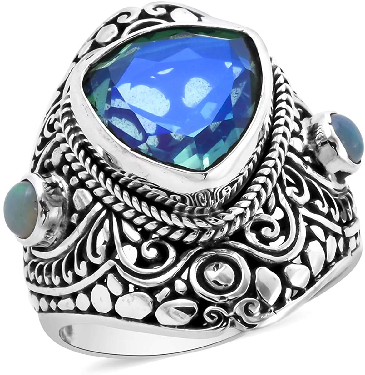 BALI LEGACY 925 Sterling Silver Trillion Peacock Triplet Quartz Opal Promise Ring Anniversary Jewelry for Women Size 8