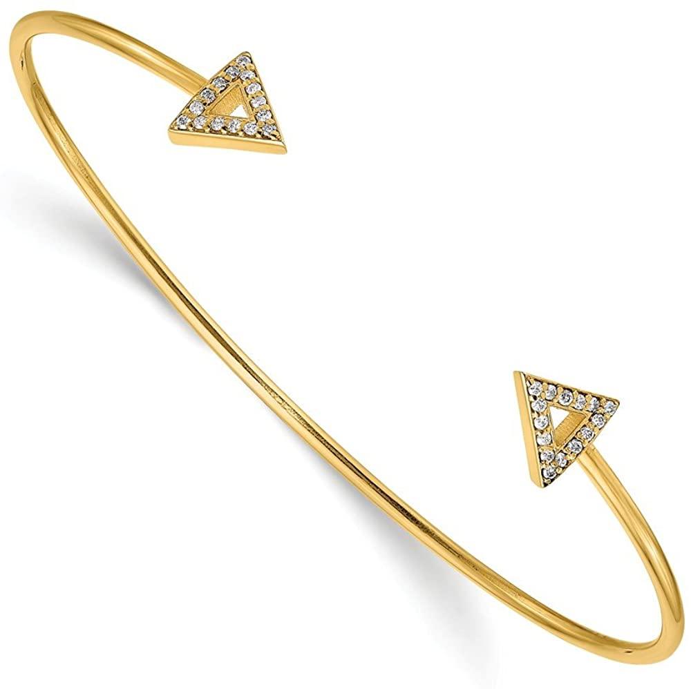 Solid 14k Yellow Gold 7in Diamond Triangle Bangle Cuff Bracelet 5/16 7