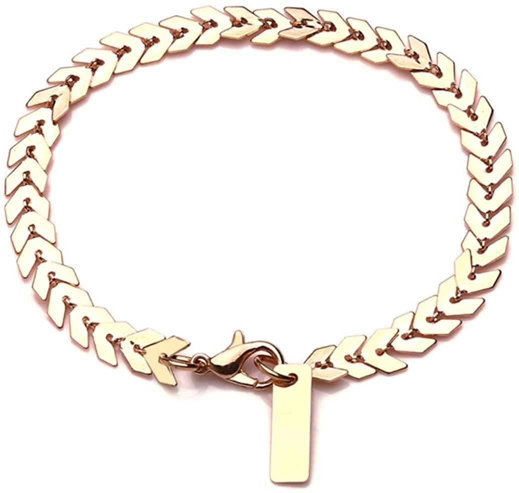 GOMYIE Multicolor Boho Anklet,Dainty Ankle Bracelet Enamel Fishbone Chevron Link Chain Foot Jewelry for Women(Gold Color)