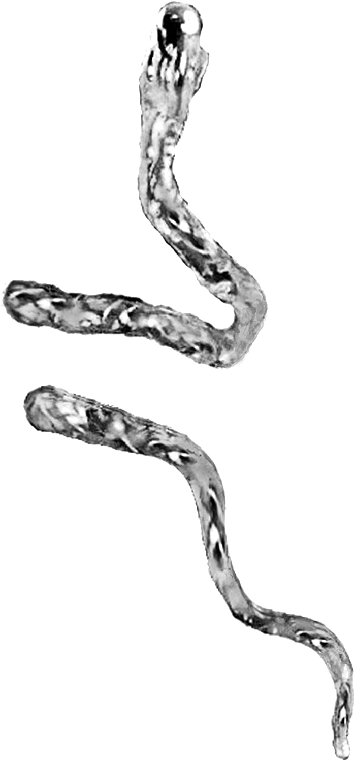 Ear Charms Snake Ear Cuff Non-Pierced Cartilage Wrap Earring Single Right Unisex Reversible EZ Care Rhodium on Sterling Silver