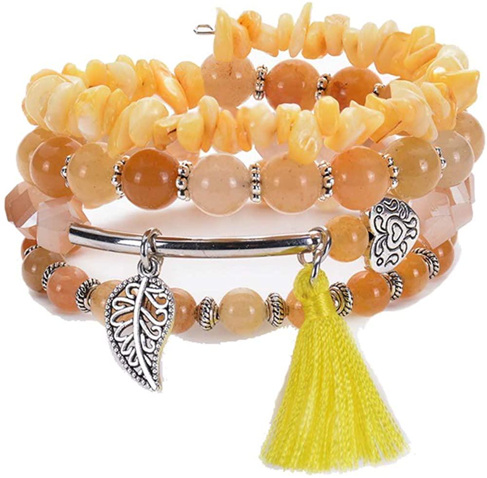 Y&M Bead Crystal Wrap Stretch Bracelet Bohemian Statement Bangle Multilayer Bracelet Gift for Women Girls