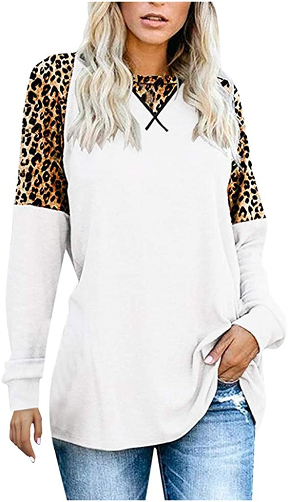 Litetao Women's Long Sleeve Shirts Tops Round Neck Blouse Printed Casual Elegant Leopard Hooded Sweatshirt