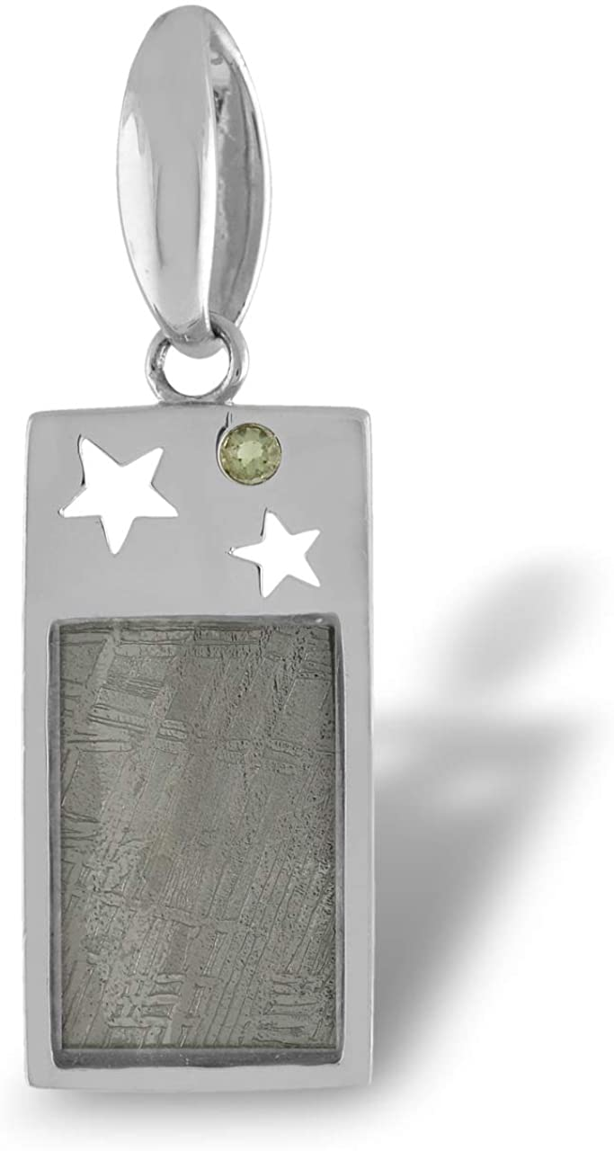 Starborn Sterling Silver Muonionalusta Meteorite and Moldavite Star Cut Out Pendant