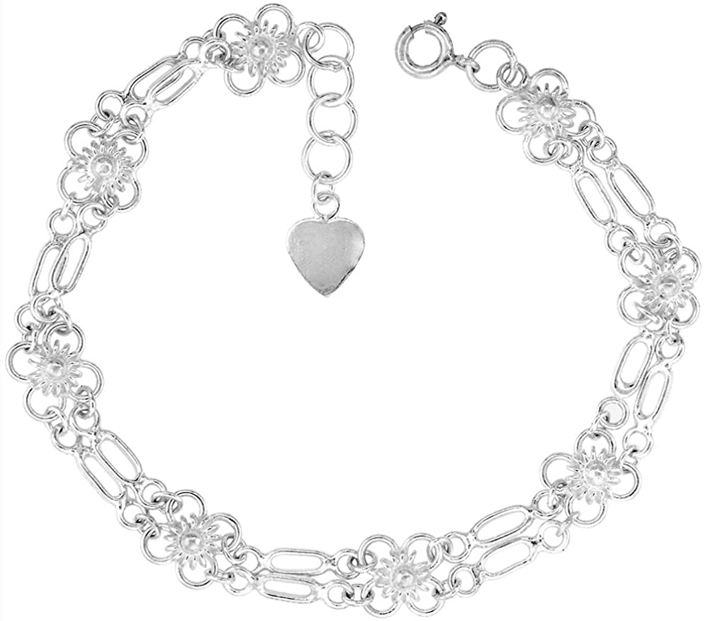 1/4 inch wide Sterling Silver Linked Quatrefoil Flowers Charm Bracelet for Women 7mm fits 7-8 inch wrists