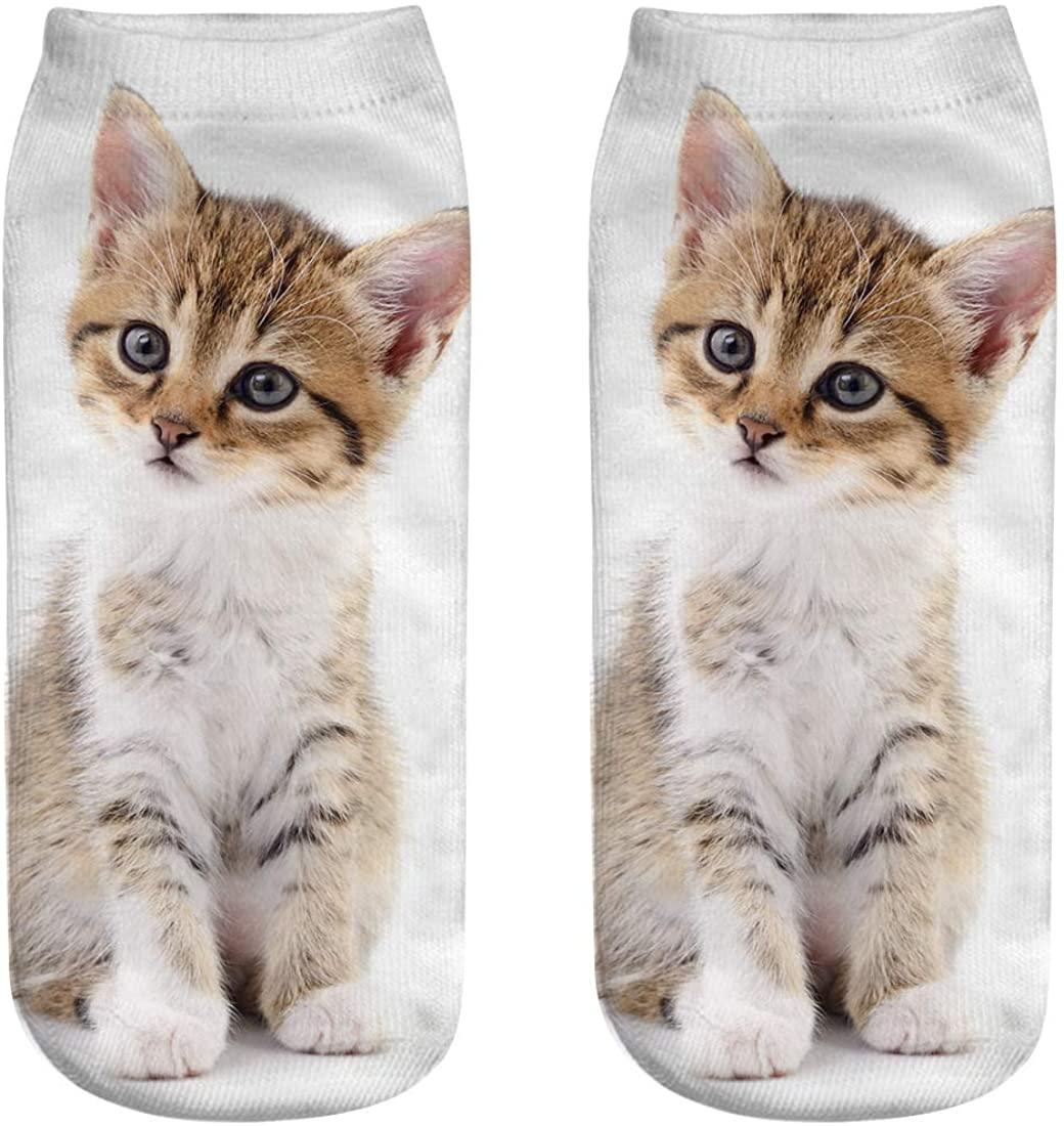 XIMIXI Animal Crew Socks for Women Girls, Cute Cotton Ankle Socks, Cat Patterns Printed Short Socks for Ladies