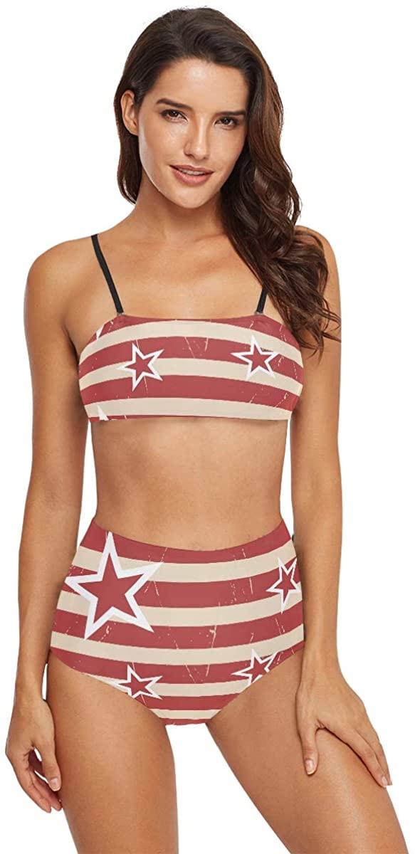 MCHIVER Bikini Women Swimsuits High Waisted - American Stars Stripes Pattern Bathing Suits Two Piece Swimwear
