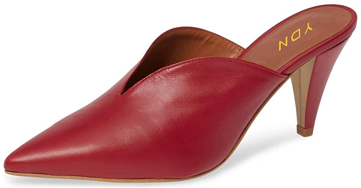 YDN Women's Slip On Cone Heel Pointed Toe Slide Mules V Cut Leather Slide Sandals Summer Dress Clog Shoes