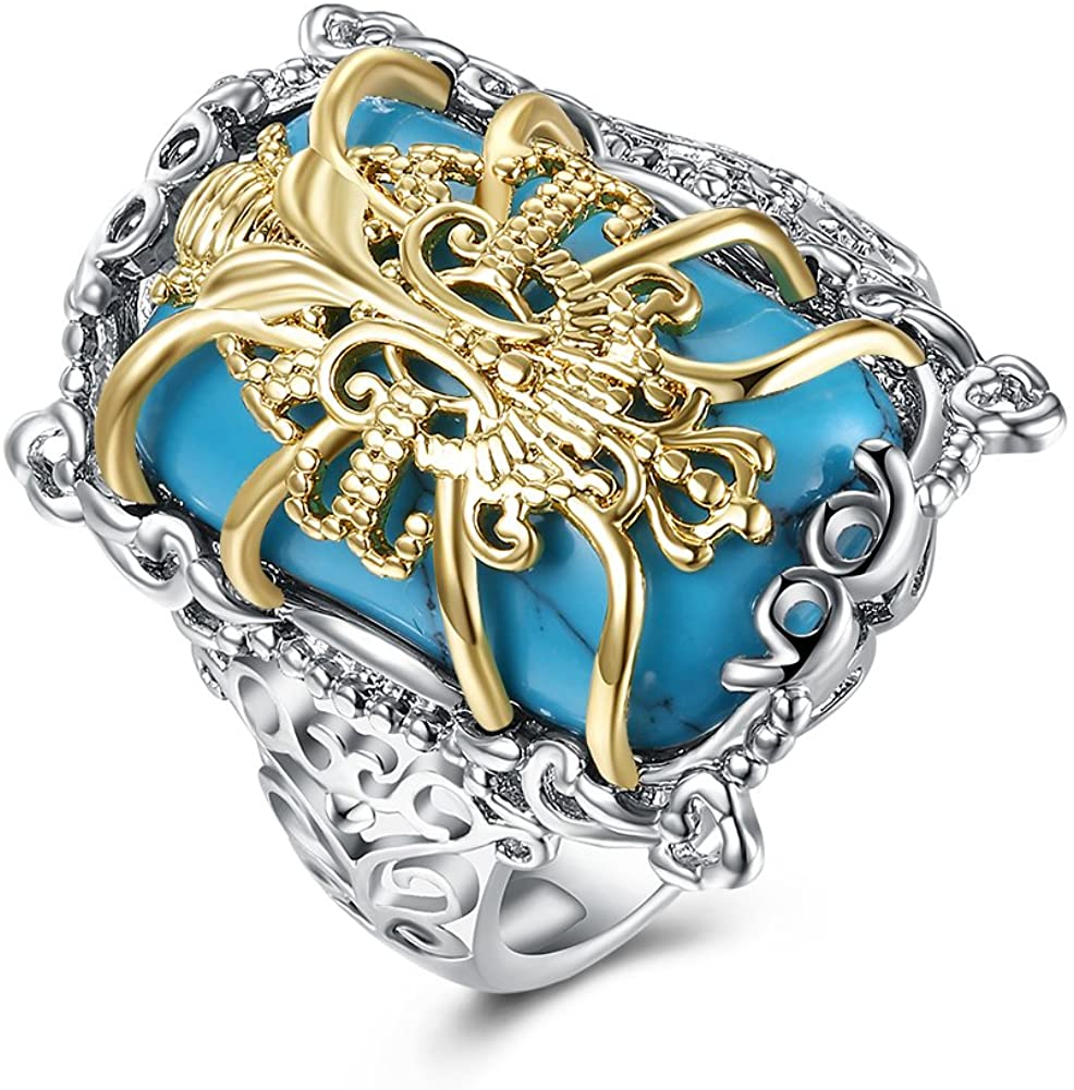 BEMI Vintage Turquoise Stacking Ring Filigree Fancy Pattern White Gold Plated Statement Rings for Women