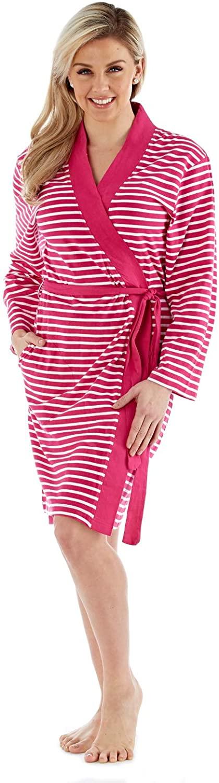 Lora Dora Womens 100% Cotton Waffle Bathrobe Striped Pink UK 8-10