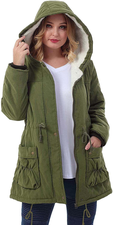 ZERDOCEAN Womens Plus Size Winter Warm Coats Hoodie Parkas Overcoat Faux Fur Lined Outwear Jackets