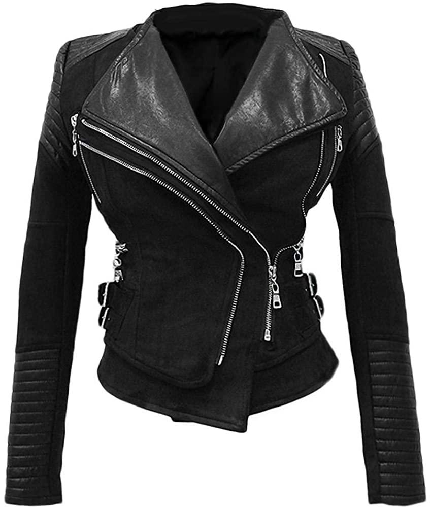 She'sModa Faux Suede Padded Shoulder Jacket for Women Slim Fit Winter Coat Moto Biker Jackets