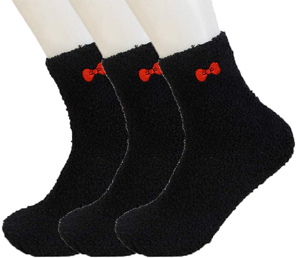 ELLITE Womens Premium Soft Fuzzy Solid Stripes Winter Warm Cozzy Microfiber Crew Home Socks Ladies Crew Socks size 9-11