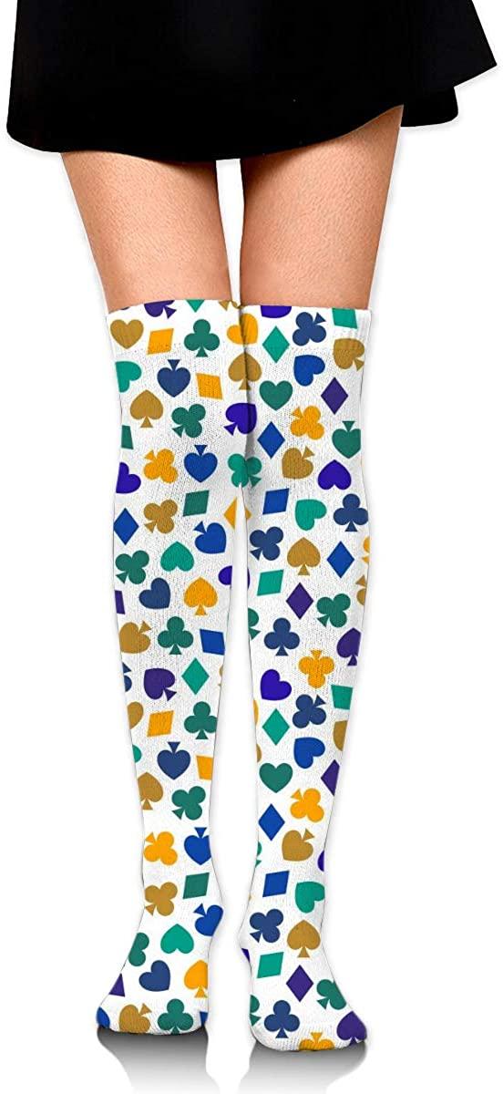 Dress Socks Poker Playing Cards Heart Spade Diamond Club Long Knee Hose Stocking