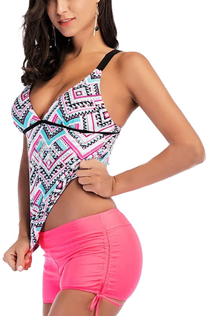 Lerben Womens 2 Piece Swimsuit Floral Tankini Sets Swimwear Beachwear with Shorts