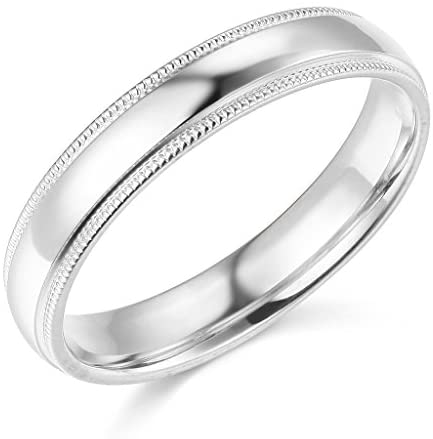 14k Yellow OR White Gold 4mm SOLID COMFORT FIT Plain Milgrain Wedding Band