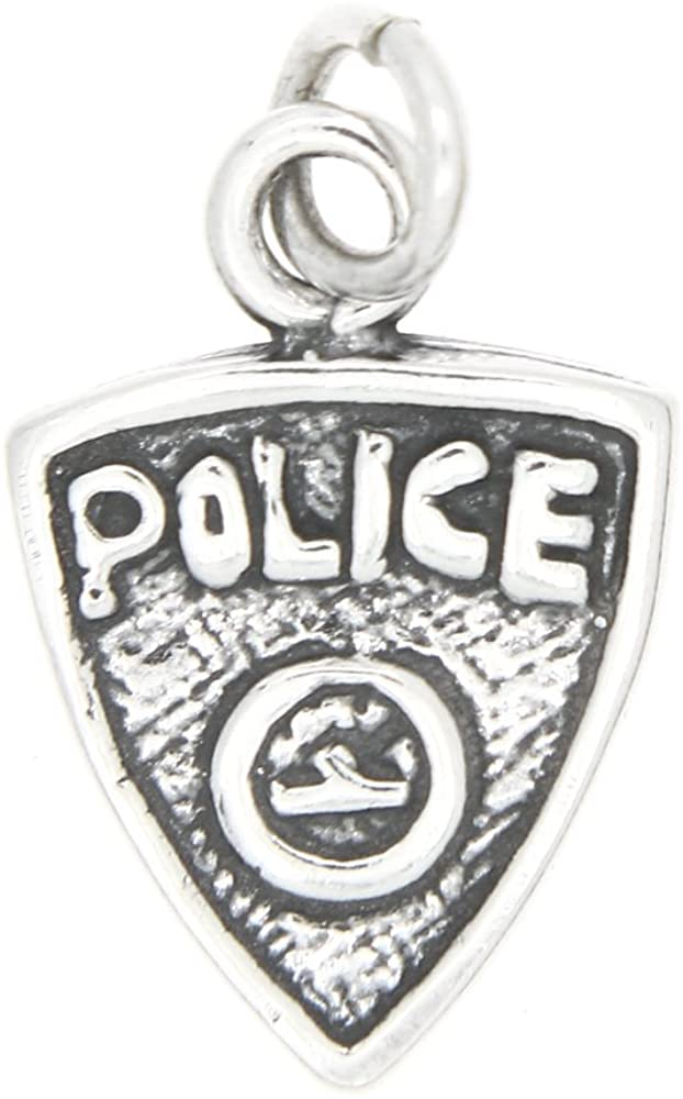 Sterling Silver Oxidized One Sided Police Badge Charm