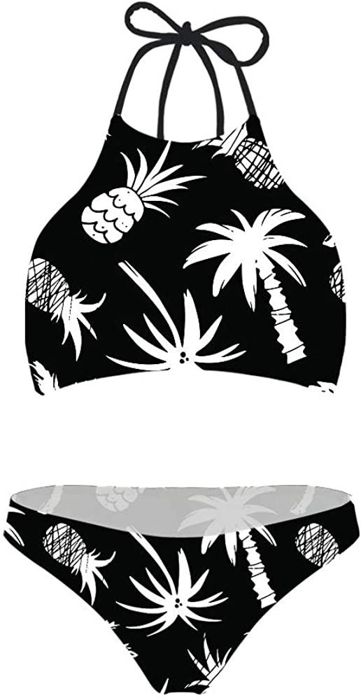 doginthehole Fashion Summer Women Two Piece Swimsuit High Waisted Bikini Set