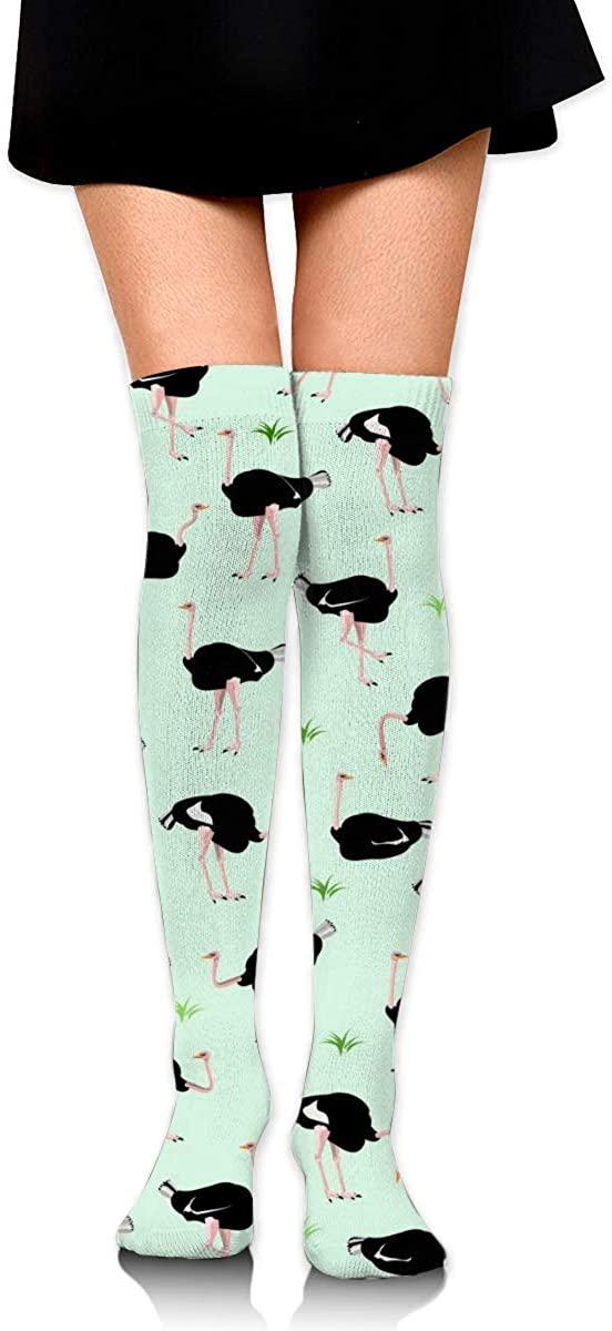 Dress Socks Cartoon Ostrich Pattern Long Knee Hose Soccer Hold-Up Stockings