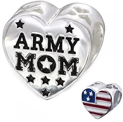 Army Mom Bead Charm USA Flag Heart Bead Sterling Silver (E10310)