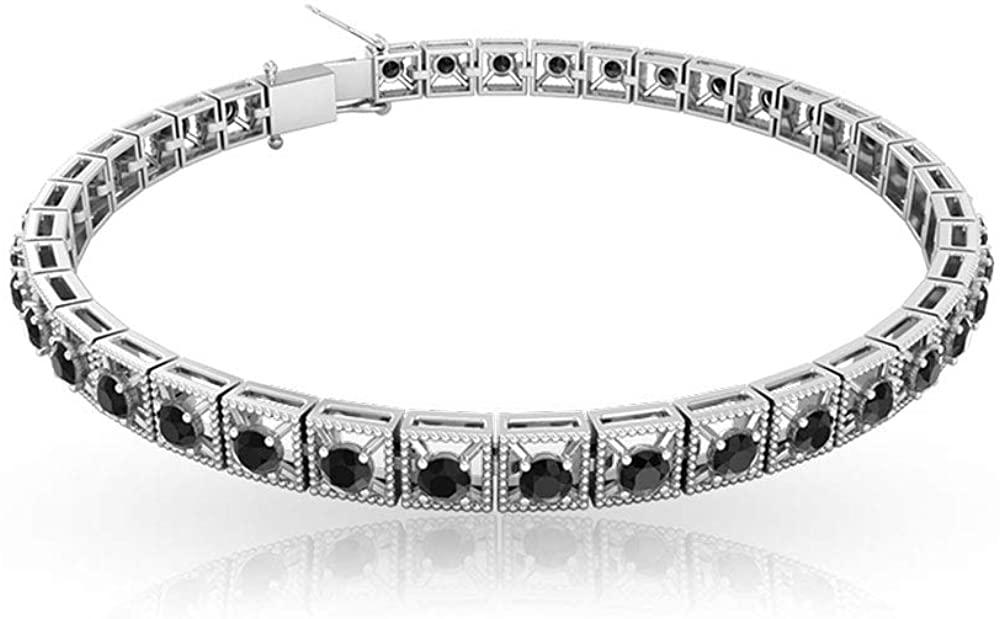 IGI Certified Black Diamond Tennis Bracelet, Bridal Statement Charm Bracelet, IJ-SI Color Clarity Diamond Vintage Mothers Bracelet, Gifts for Her