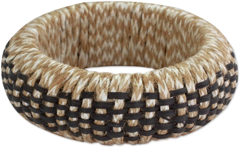NOVICA Rattan Bangle Bracelet, Checkerboard'
