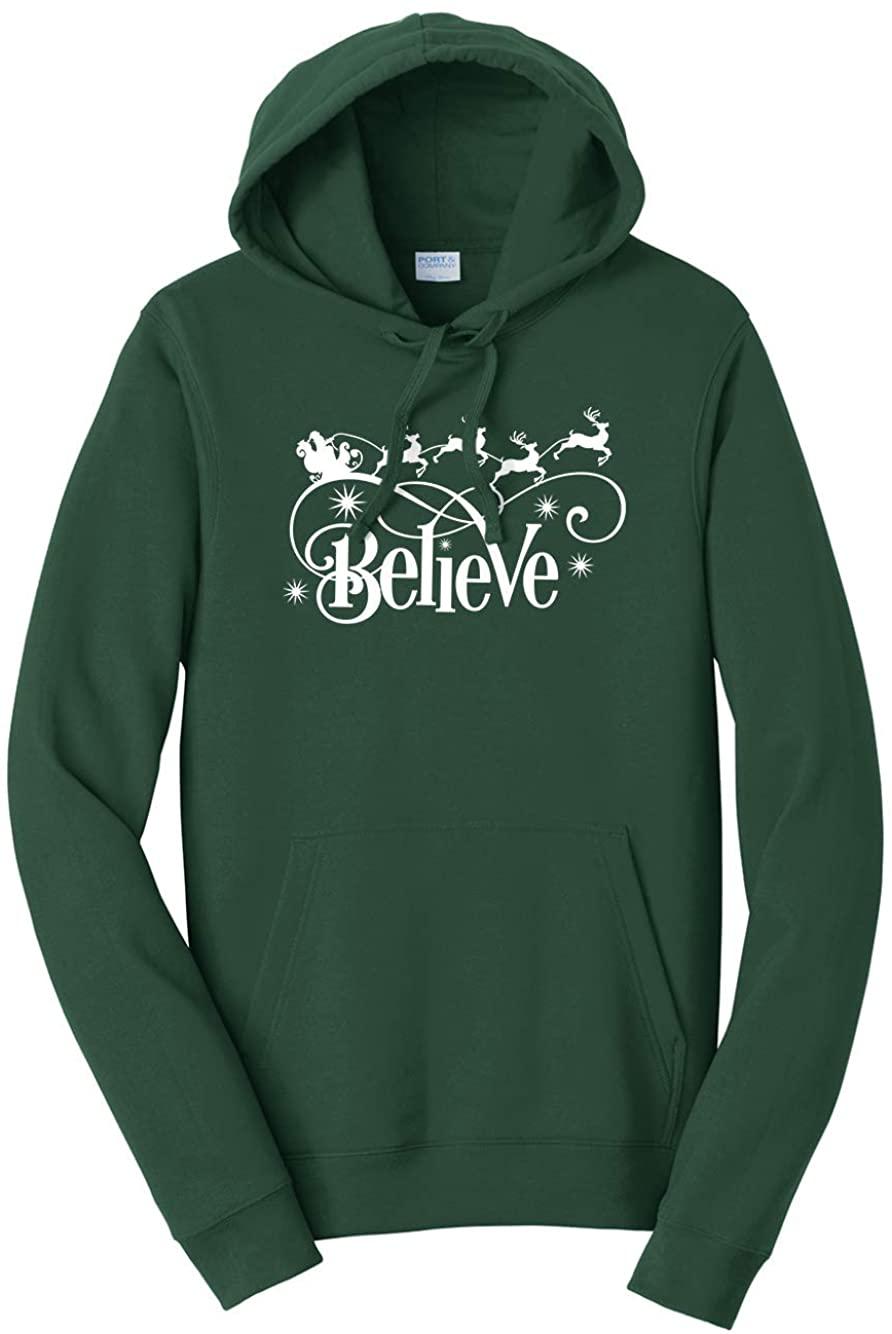 Tenacitee Unisex Believe Santa's Sleigh Hooded Sweatshirt