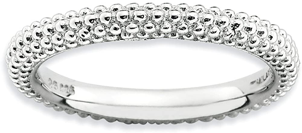 Sterling Silver Stackable Expressions Rhodium-plated Domed Ring Size 10
