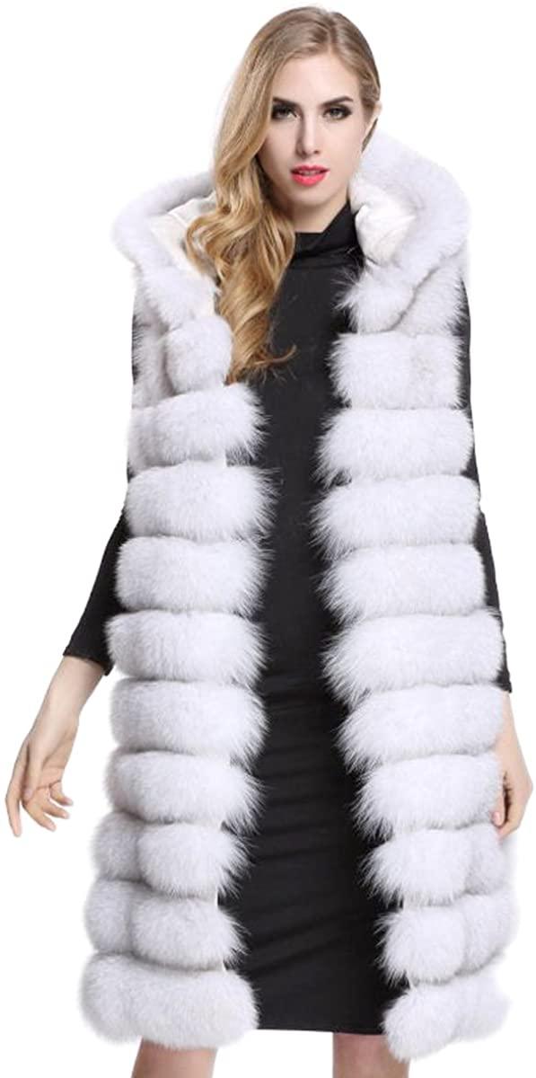Aukmla Womens Faux Fur Sleeveless Vest with Hood and Pockets Waistcoat Warmer Gilet Long Outwear