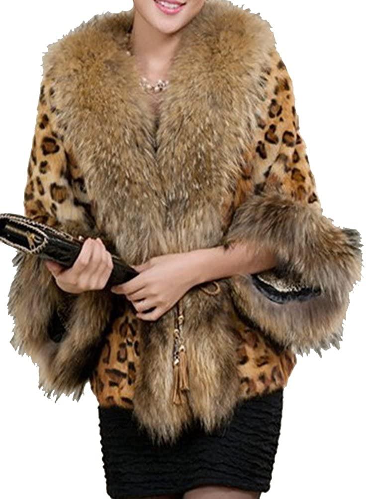 Helan Women's Big Faux Fur Collar Short Faux Fur Coat