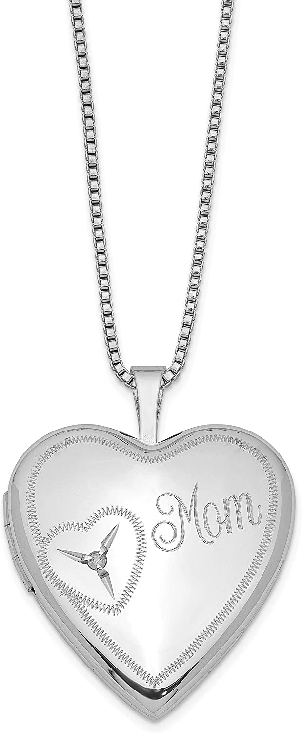 Sterling Silver 20mm Mom Diamond Heart Locket 25x20mm 18 Inches (0.015 cttw, I1-I3 Clarity, I-J Color)
