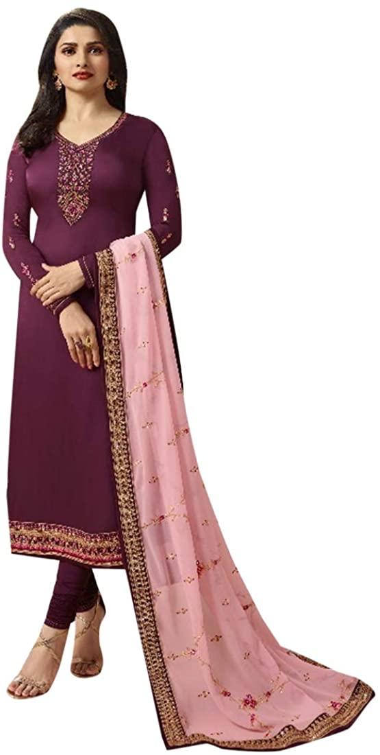Diwali Ethnic Designer Satin Georgette Salwar Kameez with Dupatta Indian Women Fancy Party wear Semi-stitch 8665