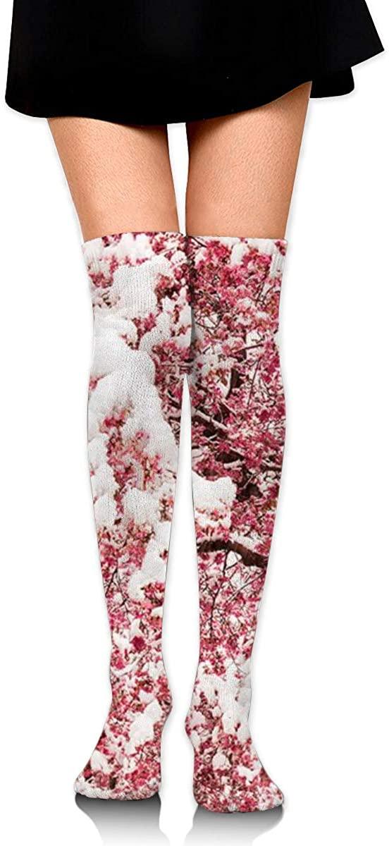 Dress Socks Japan Sakura Floral Cherry Blossoms High Knee Hose Soccer Stockings
