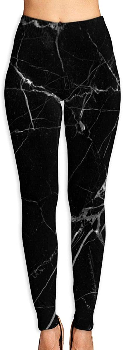 NOT Marble Print Black White Women's 3D Digital Print High Wait Leggings Yoga Workout Pants