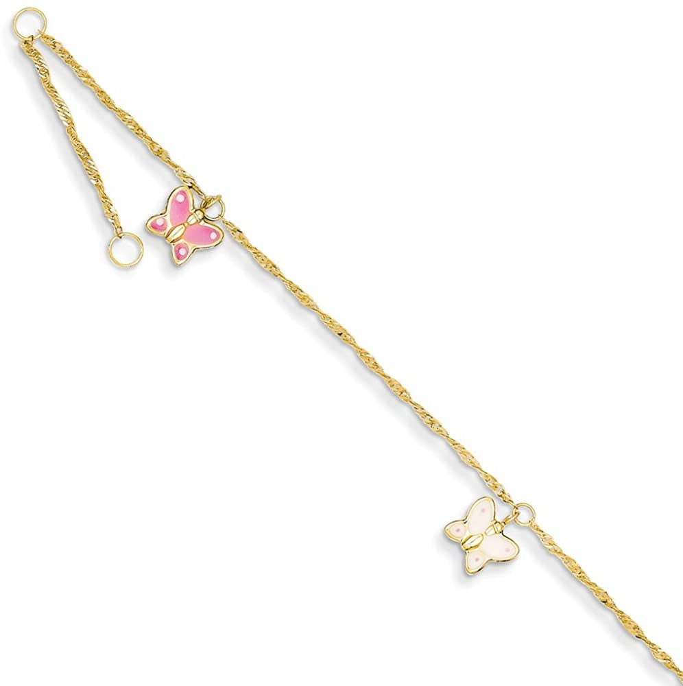 Mia Diamonds 14k Solid Yellow Gold Adjustable Enameled Butterfly Anklet Bracelet -10