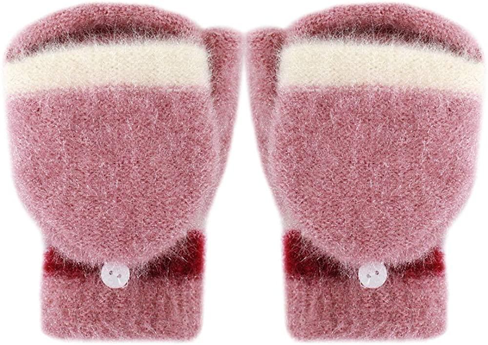 Monique Women Teens Knit Fingerless Gloves with Mittens Cover Winter Warm Mittens