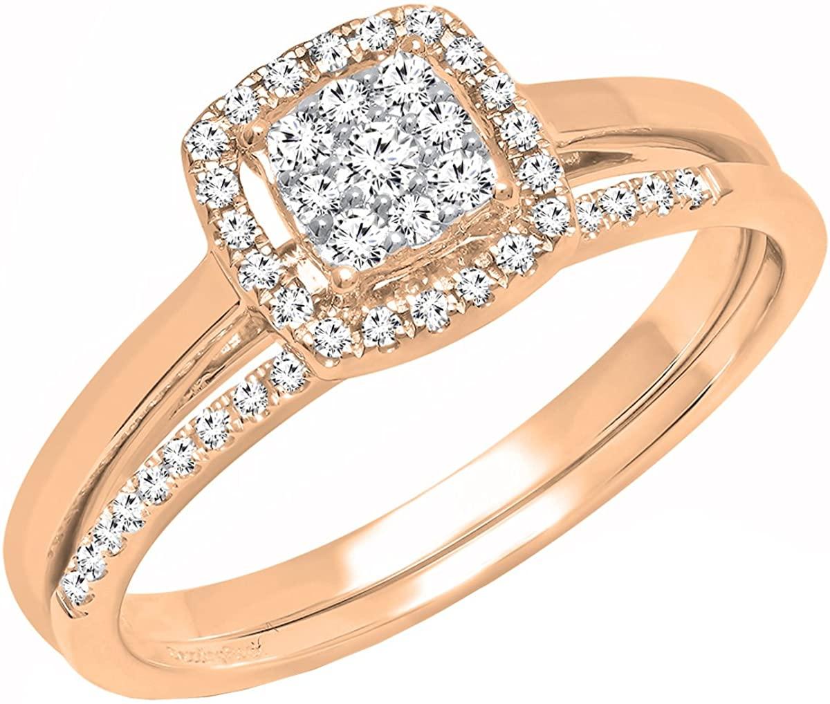Dazzlingrock Collection 0.30 Carat (ctw) 18K Gold Round Diamond Ladies Bridal Engagement Ring Set 1/3 CT